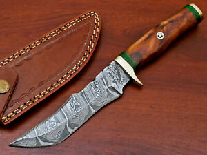 Rody Stan HAND MADE DAMASCUS BLADE HUNTING KNIFE - BRASS GUARD - AS-9704
