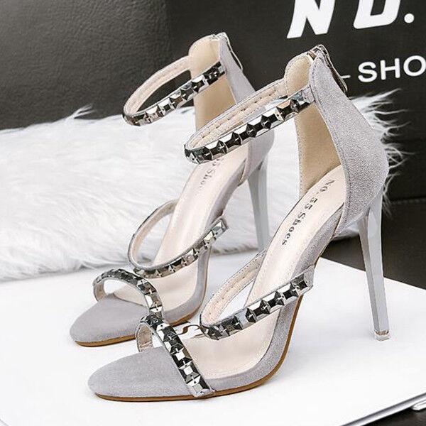 Sandale eleganti tacco stiletto 11 cm grigio simil pelle eleganti 9837