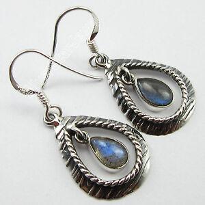 925-Pure-Silver-RETRO-STYLE-Earrings-1-5-034-Blue-Fire-LABRADORITE-ART-Jewelry