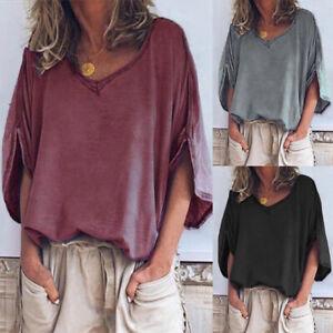 Mode-Femme-Loisir-Demi-Manche-Col-V-Decontracte-lache-Chemise-Shirt-Haut-Plus