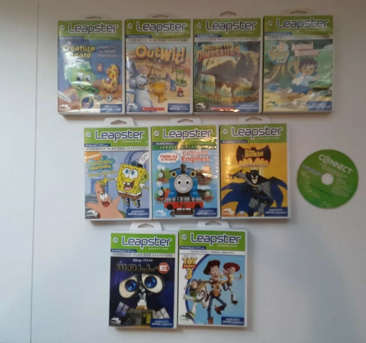 Lot Of 9 Leapster Learning Games. Ranges from pre-K to age 8 years.