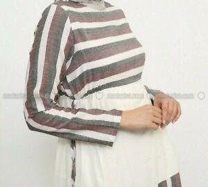Damen Kleid Marke Refka Grosse 48 Farbe Weiss Ekru Bordeauxrot Gestreift Ebay