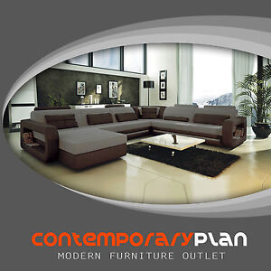 Details about Ultra Modern Italian Leather Sectional Sofa Contemporary  Design Grey Shades