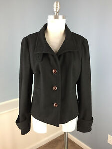 Banana Republic Noir laine L 100 Manteau excellent dp07wnxda