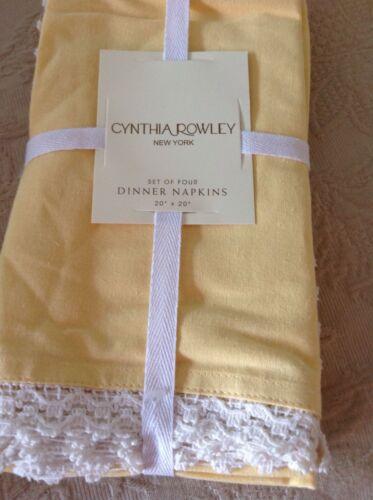 CYNTHIA ROWLEY DINNER NAPKINS SET OF 4 YELLOW  20 X 20  NIP