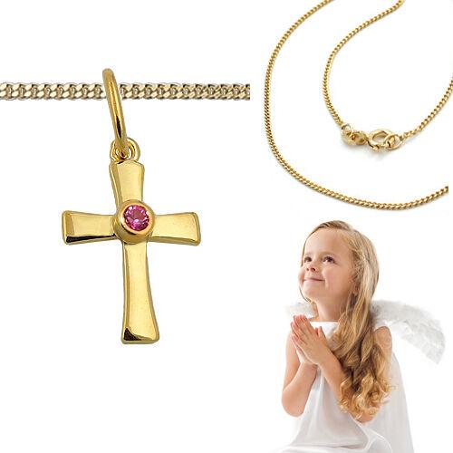 Silber Kette Echt Gold 333 Mädchen Taufe Kommunion Zirkonia rot Kreuz Anhänger