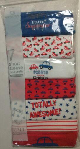 Baby boy lot de 7 à manches courtes révélateurs en rouge blanc bleu voitures superbe détail