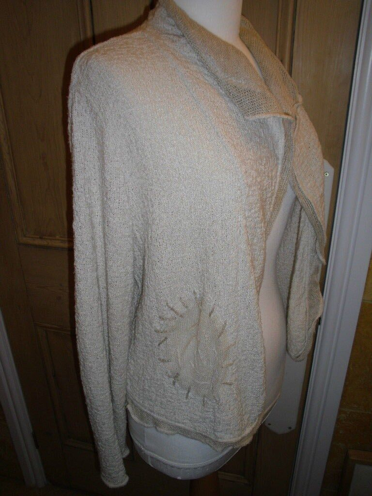 HORSAN OATMEAL CARDIGAN, SIZE 36 SMALL, VERSATILE WEAR, LINEN MIX