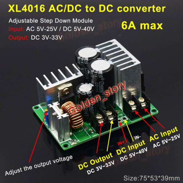 AC/DC to DC Step Down Voltage Converter 3V 5V 12V 15V 24V Rectifier Filter  Modle