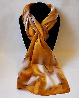 Hand Painted Silk Scarf Gold White Womens Unique Oblong Head Hair Neck New Gift
