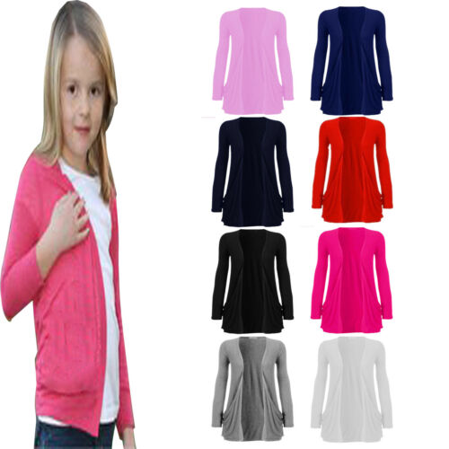 Kids Girls Cardigan Long Sleeve Open New Knitted Boyfriend Fashion Top Age 5-13