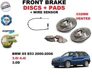 Para-BMW-X5-E53-3-0-4-4-3-0d-00-06-Delantero-Juego-Discos-Freno-Pastillas-Kit