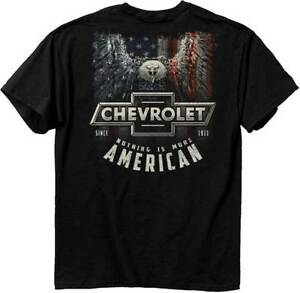 Chevy-Mens-Graphic-Tee-More-American-Chevrolet-Black-T-shirt-Adult-Size