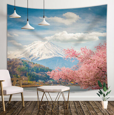 AU/_ Bedroom Decoration Wall Blanket Cherry Blossom Mount Fuji Hanging Tapestry