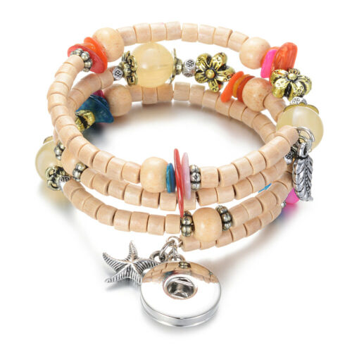 New Collection Wooden Snap Charms Bracelet Multi Styles Fit 18mm Snap Button
