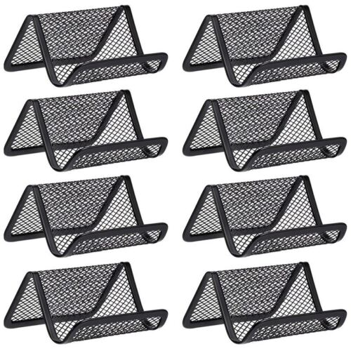 8 Stücke Schwarz Eisen Metall Gitter Visiten Karten Halter Desktop Büro Vis JS