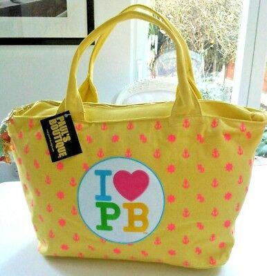 PAULS BOUTIQUE POPPY NAUTICAL PATCH YELLOW CANVAS OVERSIZED WEEKEND TRAVEL BAG!