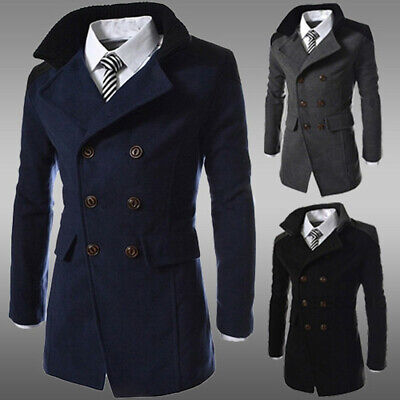 Mens Winter Thin Wool Trench Coat Double Breasted Overcoat Long Jacket Outwear