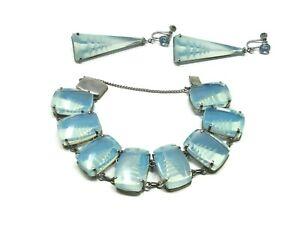 Japanese-Silver-Pagoda-Bracelet-amp-Earrings-Reversed-Carved-Opaline-Glass