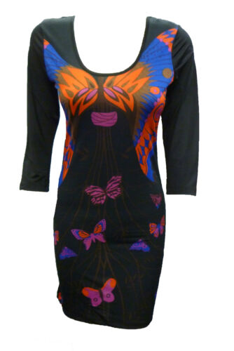 Womens Ladies New Butterfly Celebrity Style Bodycon Party Dress Sizes 8-14