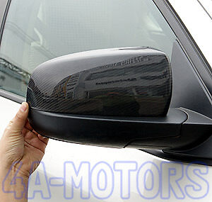 Carbon Fiber Side Mirror Cover Caps For BMW X5 E70 X6 E71 Add On Type 2008-2013