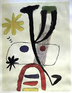 Joan-Miro-HAND-PAINTED-OIL-ON-CANVAS-after-FAMOUS-LITHOGRAPH-UNIQUE-RARE-ART