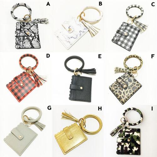 PU Leather Card Wallet Bracelet Key Ring Bangle Bag Keychain Wristlet Keyring