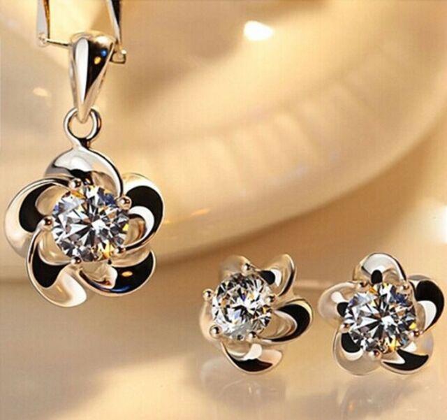 925 Sterling Silver Crystal Flower Earring And Necklace Women Jewellery Gift