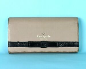 Kate-Spade-New-York-Camel-Pink-Black-Leather-Long-Wallet-Women-Purse-Coin-Case