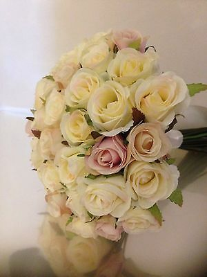 IVORY, CHAMPAGNE,ORCHID PINK ROSES 36 BUDS  WEDDING  BOUQUET  SILK FLOWER