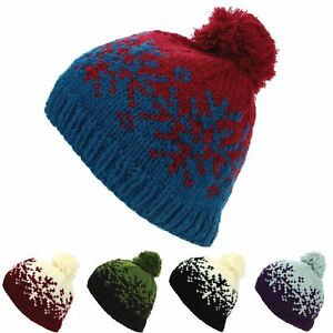 Image is loading Beanie-Hat-Cap-Bobble-Fairisle-Snowflake-Winter-Lined- 830682acb9ba