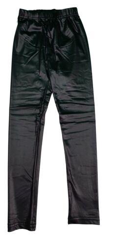 Girls Kids Wet Look Shiny PVC Full Length Stretchy Skinny Legging Age 2-14 Years