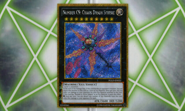 Number C9: Chaos Dyson Sphere PGLD-EN022 Gold Secret Rare YuGiOh Card NM