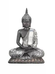 Silver-Sitting-Buddha-Ornament-Statue-Figurine-Home-Decor-Furniture-Sparkly-Gift