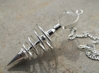 Silver plated metal spiral dowsing pendulum topped with quartz ball