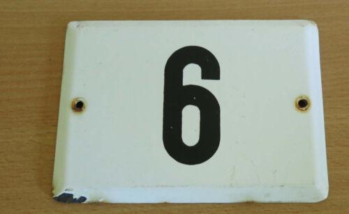 Altes Emaille Schild Ziffer Zahl 6 Hausnummer