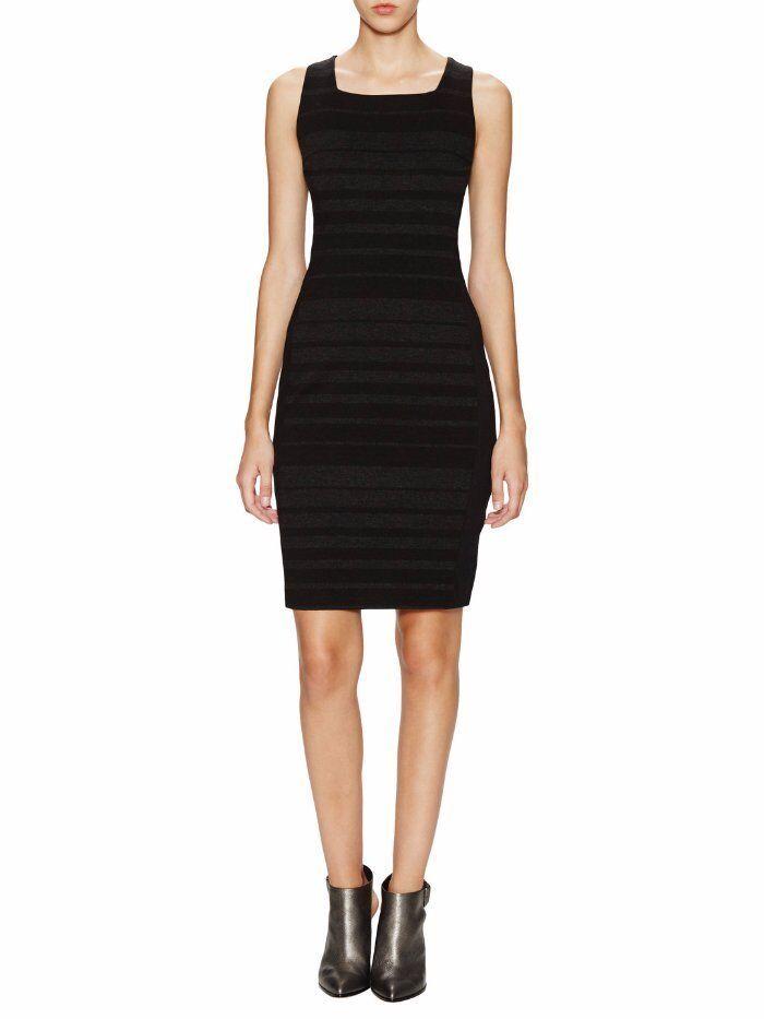Eileen Fisher Striped Charcoal schwarz Square Neck Sheath Dress NWT 14 E346