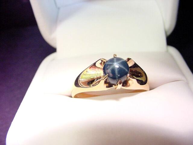 GENUINE BLUE STAR SAPPHIRE  VINTAGE CIRCA 1900-10  10K GOLD RING  SIZE 10