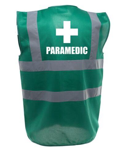 PARAMEDIC PRINTED GREEN ENHANCED SAFETY VEST HIGH VIS WAISTCOAT HI VIZ FESTIVAL