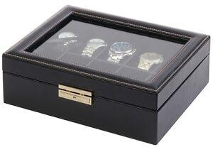 Details about Orbita Roma 10 Watch Case Glass Top Display Storage Box Black  Leather W93011