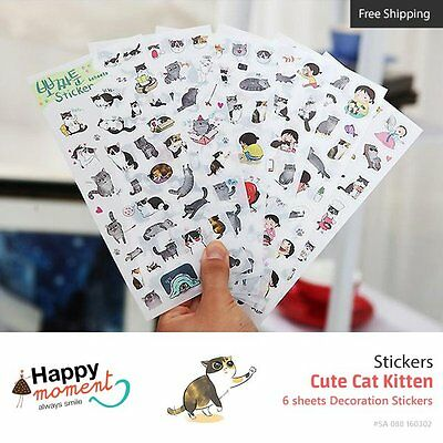 Cute Cat Kitten Stickers Diary Planner Scrapbooking Decoration Stickers 6 sheets