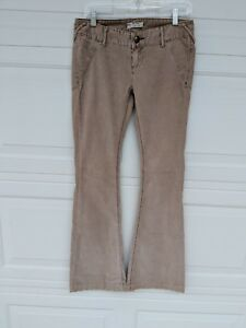 Free-People-FP-Beige-Stretch-Corduroy-Boot-Cut-Flare-Pants-Size-26-Womens
