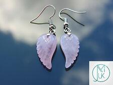 Rose Quartz Angel Wing Gemstone Earrings Natural Quartz Chakra Healing Stone