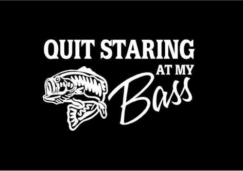 "Fishing decal  /""Quit staring at my bass/""  6.5inx4in"