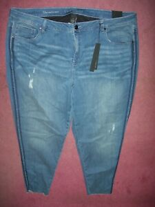 b5c3aa23951 LANE BRYANT 28 Mid Rise Stretch Skinny Ankle Distressed Jeans Power ...