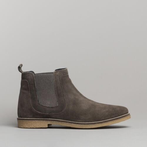 Silver Street London BALDWIN Mens Suede Leather Pull On Chelsea Ankle Boots Grey