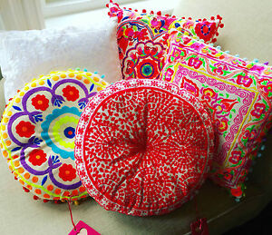 Embroidered-Bright-Cushions-by-Bombay-Duck-London-40cm-x-40cm