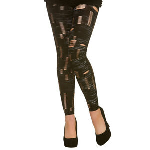 b7e133cc6 Image is loading Footless-Zombie-Tights-Ladies-Halloween-Fancy-Dress-Ripped-