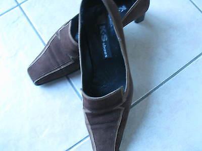 Gut erhaltene K+S Schuhe in braunem Wildleder Gr. 40