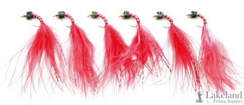 6 or 12x Gold Head Buzzer Bloodworm Marabou Trout Fly Fishing Flies 3